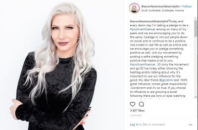 Jenny Strebe Instagram post #positiveinfluencer