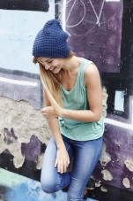 smiling girl in beanie