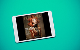 Tablet with the digital version of AHP Indie Stylist magazine displayed